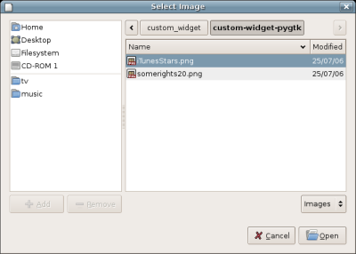Python PyGTK gtk.FileChooserDialog