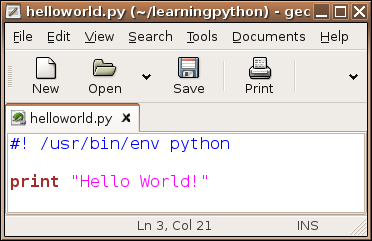 gedit helloworld.py listing