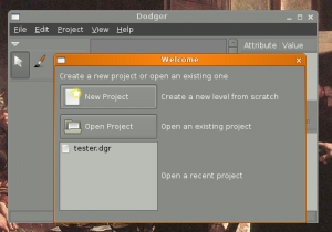 dodger editor welcome dialog